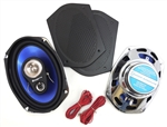 6x9 Chrome Rear Deck Speakers Set with Flat Grille Covers, 200 Watts