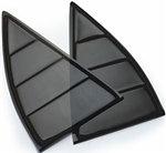 2010 - 2015 Camaro Black Tinted Quarter Window Louvers, Pair