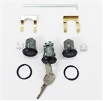 1967 and 1982 - 1985 BLACK Locks Set, Doors and Trunk, GM Later Style Round Head Keys