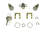 1970 - 1973 Locks Set, Doors and Trunk, Short Cylinders, Round Head Keys