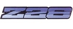 1986 - 1987 Camaro Rocker Panel Emblem, Z28 Logo, Metallic Dark Blue, 20615650