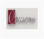 1971 - 1973 Camaro Trunk Deck Lid Emblem, Script Logo, Chrome and Red, Imported, 9869701