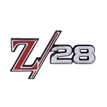 "1969 Rear Panel Emblem, ""Z/28"", Colors: Red, Silver, Chrome, and Black, USA Made"
