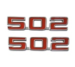 "Engine Size Emblems, ""502"", Custom, Red and Chrome, Pair"