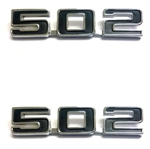 "Fender Emblems, ""502"" Engine Size, Custom, Black and Chrome, Pair"