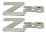 1970-1974 Custom Solid Z28 Emblems Pair in Polished Stainless Steel w/ Adhesive Backing