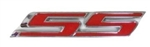"Custom Emblem, Super Sport ""SS"" Logo, Peel and Stick, Red and Chrome"