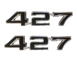 "1969 Fender Emblems, ""427"" Engine Size, Black, Pair"