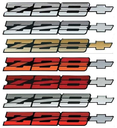 82-84 Camaro Z28 Tri Color  RED BLUE GOLD Emblems 2 NOS New See Desciption
