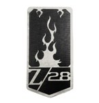 "1993 - 2002 Header Panel Emblem, ""Z/28"" Logo with Flames on Shield, Custom, Black on Stainless Steel"