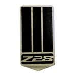 1993 - 2002 Camaro Custom Z28 Header Panel Emblem, 4th Gen Z28 Logo on Shield, Black on Stainless Steel