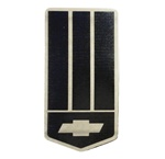 1993 - 2002 Header Panel Emblem, Bow Tie Logo on Shield, Custom, Black on Stainless Steel