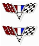 1967 Camaro Fender Emblems, V-Flag, Pair