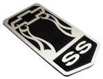 "1993 - 2002 Header Panel Emblem, Super Sport ""SS"" Logo with Bow Tie, Stainless Steel, USA Made"