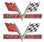 427 V-Flag Camaro Fender Emblem, Vee Cross Flags with 427 TURBO-JET, PAIR
