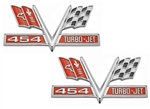 454 V-Flag Camaro Fender Emblem, Vee Cross Flags with 454 TURBO-JET, PAIR