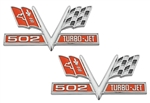 502 V-Flag Camaro Fender Emblem, Vee Cross Flags with 502 TURBO-JET, PAIR