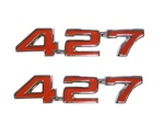 "1969 Fender Emblems, ""427"" Engine Size, Red and Chrome, Pair"