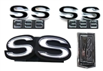 1970 Emblems Set for Super Sport 396 with a Rear Spoiler: Grille and Fenders, 4 Pieces