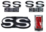 1971 - 1972 Emblems Set for Super Sport 396 with a Rear Spoiler: Header, Grille, and Fenders, USA Made, 6 Pieces