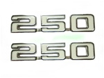 "1969 Fender Emblems, ""250"" Engine Size, White and Chrome, Pair"