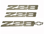 1982 - 1992 Camaro Custom Z28 Polished Emblem Set, Peel and Stick, 3 Pieces Kit