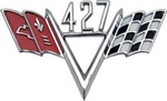 "427 Custom ""V"" Flag Engine Size Emblem"