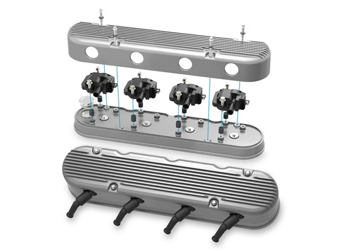 Holley LS 2-PC Finned Aluminum Valve Covers, Choose Finish: Natural, Gloss  Red, or Chevy Orange