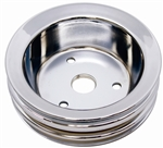 1967 - 1968 Crankshaft Pulley, Small Block, 3 Groove, Chrome 2pc
