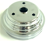 1969 - 1985 Crankshaft Pulley, Small Block, 2 Row Deep Groove, Chrome Plated Aluminum