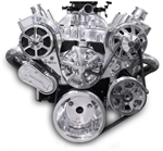 Chevy Small Block Billet Aluminum Complete S-Drive Serpentine Kit with A/C and Remote Maval Remote Power Steering Reservoir