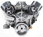 Chevy Small Block Billet Aluminum Complete S-Drive Serpentine Kit with A/C and Without Power Steering Reservoir