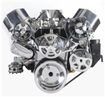 Chevy Small Block Billet Aluminum Complete S-Drive Serpentine Kit WITHOUT  A/C and Plastic Maval Power Steering Reservoir
