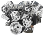 Chevy Big Block Billet Aluminum Complete S-Drive Serpentine Kit with A/C and Plastic Maval Power Steering Reservoir