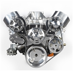 Chevy Big Block Billet Aluminum Complete S-Drive Serpentine Kit with A/C and Billet Maval Power Steering Reservoir
