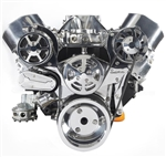 Chevy Big Block Billet Aluminum Complete S-Drive Serpentine Kit with A/C and Without Power Steering Reservoir