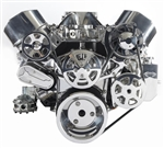 Chevy Big Block Billet Aluminum Complete S-Drive Serpentine Kit WITHOUT A/C and w/ BILLET Power Steering Reservoir