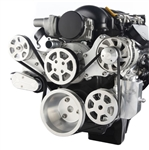 LS Chevy Billet Aluminum Complete S-Drive Serpentine Kit WITHOUT A/C and Billet Maval Power Steering Reservoir
