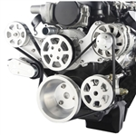 LS Chevy Billet Aluminum Complete S-Drive Serpentine Kit WITHOUT A/C and remote Maval Power Steering Reservoir