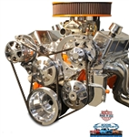 Chevy Small Block Billet Aluminum Complete S-Drive Serpentine Kit with A/C and Billet Maval Power Steering Reservoir