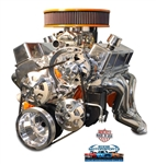 Chevy Small Block Billet Aluminum Complete V-Drive V-Belt Kit WITHOUT A/C and w/ PLASTIC Power Steering Reservoir