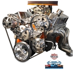 Chevy Big Block Billet Aluminum Complete V-Drive V-Belt Kit with A/C and PLASTIC Power Steering Reservoir