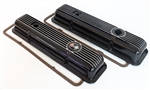 1969 - 1974 Camaro Valve Cover Set, Z/28 / LT1 Small Block Black Aluminum Ribbed Cork Gaskets Included, GM LICENSED