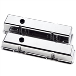 Billet Specialties Small Block Valve Covers, Polished Billet Aluminum, Smooth Top, Choose Height