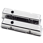 Billet Specialties Small Block Valve Covers, Polished Billet Aluminum, Ball Milled