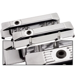 Billet Specialties Small Block Valve Covers, Polished Billet Aluminum, Tall Ribbed