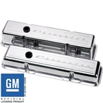 Small Block Billet Aluminum Valve Covers, Chevrolet Script