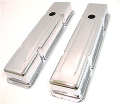New Classic Style 1958 - 1986 Chevy Small Block Chrome Valve Covers great for your SB Camaro