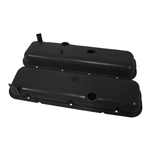 1965 - 1995 CHEVY BIG BLOCK 396, 427, & 454 BLACK STEEL OE STYLE VALVE COVER SET WITH DRIPPERS, SHORT