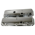 1967 - 1972 Camaro BIG BLOCK Valve Covers, CHROME Without Drippers, OE Height